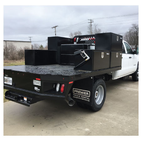 Flatbed with Toolboxes and Fuel Storage Tank