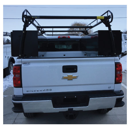 Pickup with Toolboxes and Ladder Rack